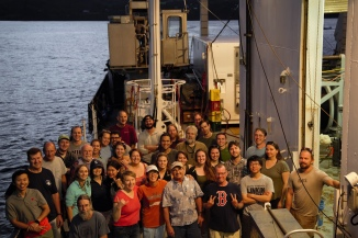 All 37 members of GP15's leg 1 science party stand together before arriving in Hilo, Hawaii.