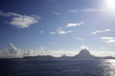 The Roger Revelle took a sun scorched pass by the island of Bora Bora in its final days at sea.
