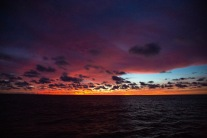 A dramatic sunrise served as the backdrop as GEOTRACES researchers collected the final samples of GP15.
