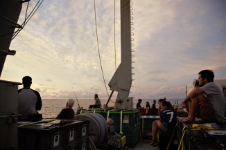 Everyone turns up on the back deck for the last sunset of the expedition.