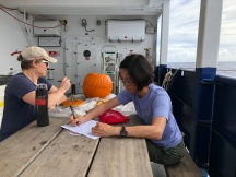 Co-chief Scientists Karen Casciotti (left) of Stanford University and Phoebe Lam (right) of UCSC hard at work on their jack-o-lantern just before Halloween.