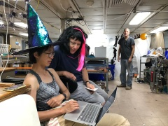 Co-chief Scientists Phoebe Lam (left) of UCSC and Karen Casciotti (right) of Stanford University working together in costume on Halloween.