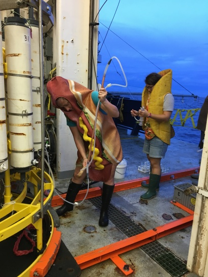 Zoe Sandwith (hot dog) of the Woods Hole Oceanographic Institution (WHOI) and Virginie Sanial (taco) of the University of Southern Mississippi retrieve samples on Halloween. Image: Karen Casciotti