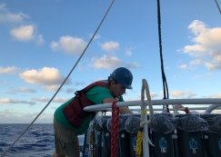 Trace metal CTD rosette technician Kyle McQuiggan prepares for the next cast.