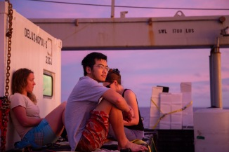 Jingxuan Li of WHOI in a contemplative moment during the final sunset of GP15.