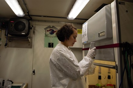 Jennifer Kenyon of the Massachusetts Institute for Technology (MIT) and WHOI joint program in applied oceanography and engineering prepares samples for analysis.