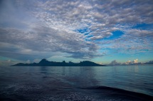 On the morning of November 25, the R/V Roger Revelle reached its final destination of Papeete, Tahiti. Here, the neighboring island of Moorea juts from a calm sea during the final approach to Tahiti.