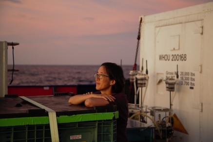 Co-chief Scientist Phoebe Lam of UCSC takes in a sunset at sea.